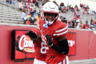 Houston wide receiver Keith Corbin celebrates his touchdown during the first half of an NCAA college football game against South Florida, Saturday, Nov. 14, 2020, in Houston. (AP Photo/Eric Christian Smith)