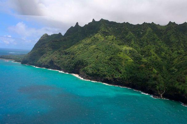 PHOTO: A photo shows an area over Napali Coast State Wilderness Park where search and rescue are searching for a tour Helicopter that disappeared in Hawaii with several people aboard on Dec. 27, 2019. (Hawaii DLNR via AP)
