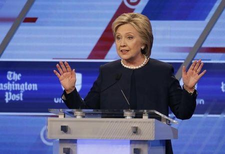 Democratic U.S. presidential candidate Hillary Clinton speaks during the Univision News and Washington Post Democratic U.S. presidential candidates debate in Kendall