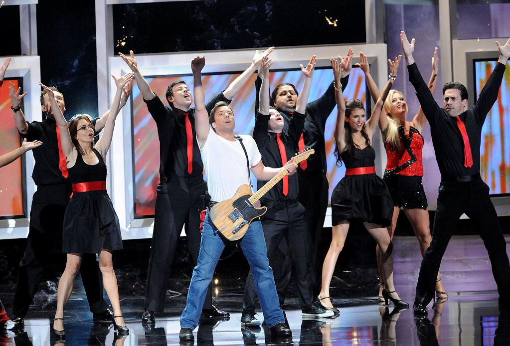 """<b>BEST: The All-Star """"Glee""""-stravaganza</b><br> Despite being a slight rehash of Fallon's glee club sketches on """"Late Night,"""" the entire opening sketch was pretty funny, not to mention star-studded. Starting with four """"Glee"""" kids and then adding Jane Lynch, Tina Fey, Jon Hamm, Joel McHale, Nina Dobrev, and, reluctantly, Kate Gosselin, Fallon got them all to wear matching black-and-red ensembles and sing Springsteen's """"Born to Run"""" — a permissions coup in and of itself. There were also cameos by Tim Gunn, Randy Jackson, and Betty White, but we would have been more surprised if the overexposed White <i>hadn't</i> showed up.<br><br>  <a href=""""http://www.televisionwithoutpity.com/show/emmy_awards/emmy_awards_2010_best_and_wors.php?__source=tw