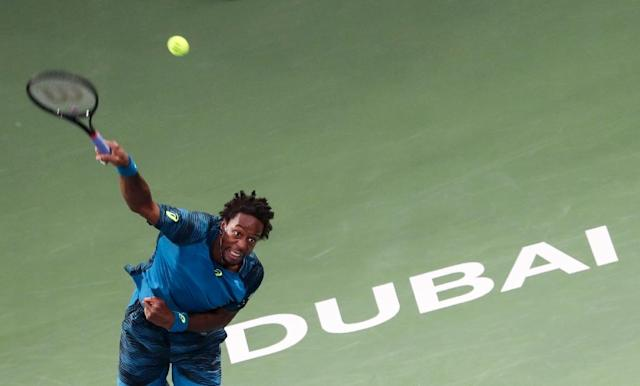 France's Gael Monfils, pictured on March 2, 2017, has a tear in his left achilles heel (AFP Photo/KARIM SAHIB)