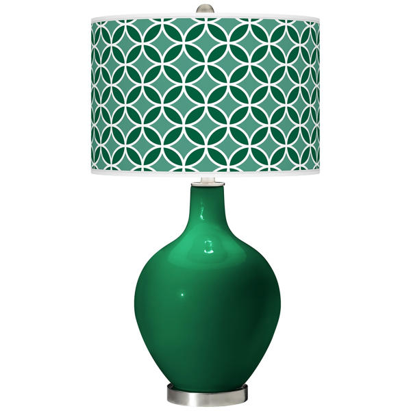 This undated publicity photo provided by Lamps Plus shows a Greens Circle Rings Ovo table lamp, a smart, contemporary emerald green accent in a home (www.lampsplus.com). (AP Photo/Lamps Plus)