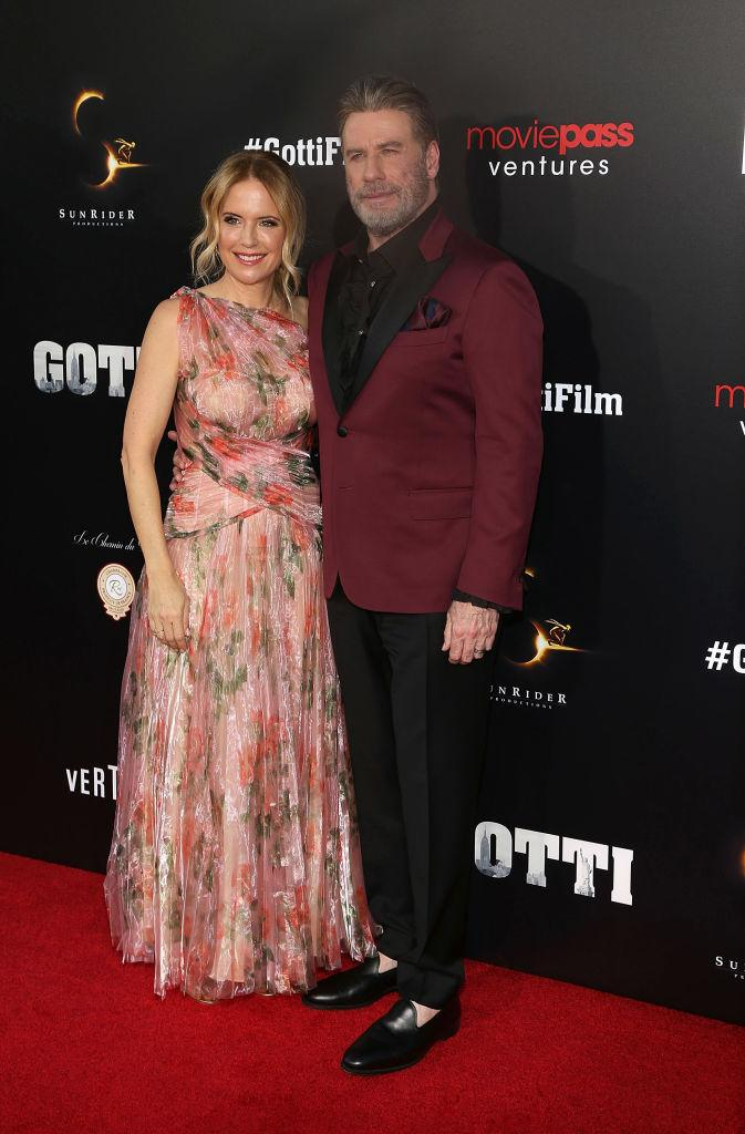 Kelly Preston with her husband John Travolta, pictured at the premiere of Gotti in June 2018. (Getty Images)