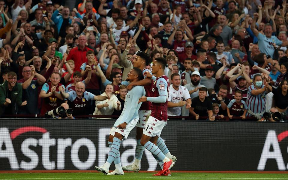 Leon Bailey of Aston Villa celebrates after scoring a goal to make it 3-0. - James Williamson - AMA/Getty Images