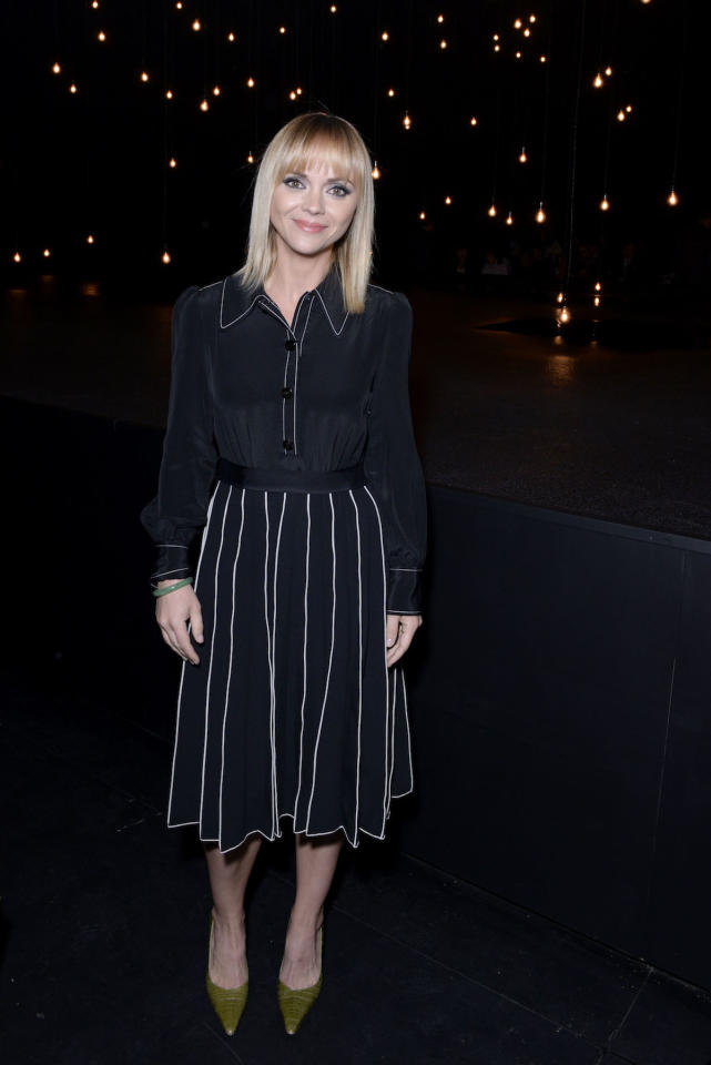 <p>NEW YORK, NY – SEPTEMBER 15: Christina Ricci poses backstage at the Marc Jacobs Spring 2017 fashion show at the Hammerstein Ballroom on September 15, 2016 in New York City. (Photo by Presley Ann/Patrick McMullan via Getty Images) </p>