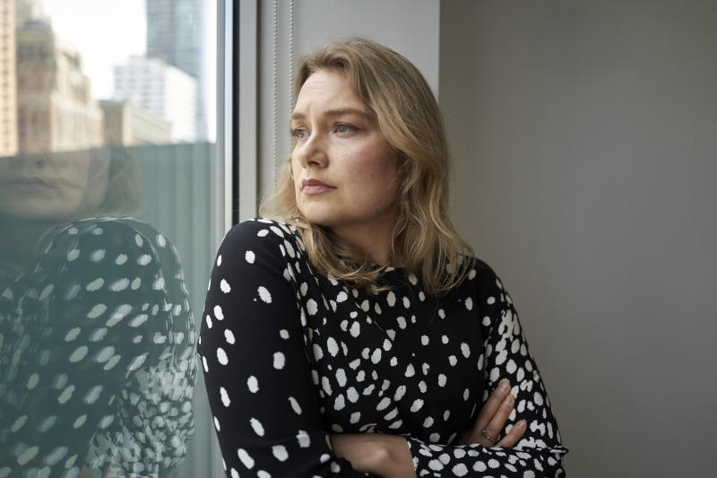"This Sept. 9, 2019 photo shows actress Merritt Wever posing for a portrait in New York to promote her Netflix series ""Unbelievable."" (Photo by Matt Licari/Invision/AP)"