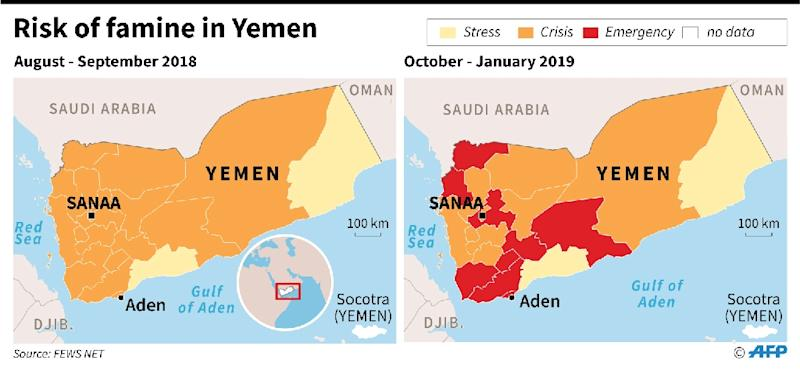 Map of food insecurity in Yemen. (AFP Photo/Simon MALFATTO)