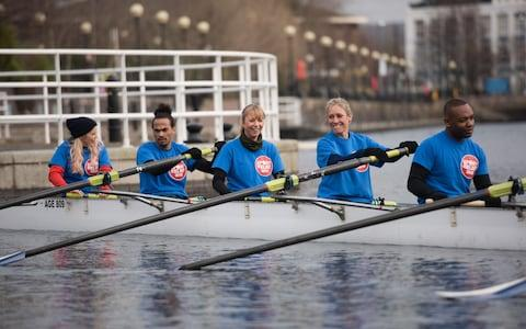 Sticking an oar in: Ellie Harrison, Dev Griffin, Sara Cox, Sophie Raworth, Rory Reid