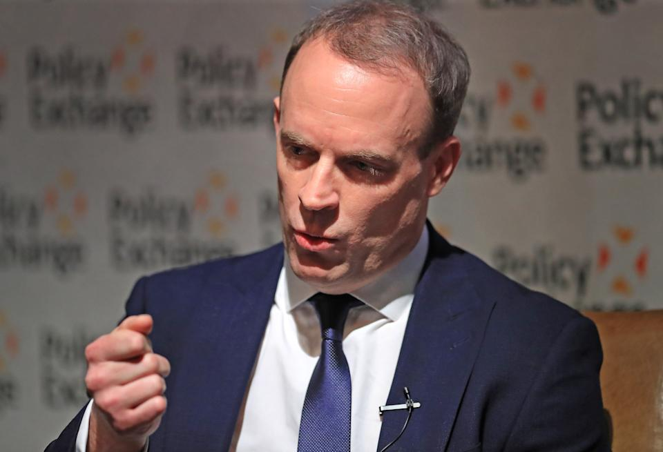 Foreign Secretary Dominic Raab during a Policy Exchange event in Westminster, London.