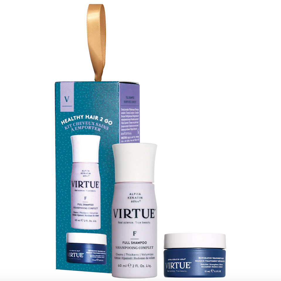 """<br><br><strong>Virtue</strong> Mini Healthy Hair To Go Set For Volume, $, available at <a href=""""https://go.skimresources.com/?id=30283X879131&url=https%3A%2F%2Ffave.co%2F3yJ3D2V"""" rel=""""nofollow noopener"""" target=""""_blank"""" data-ylk=""""slk:Sephora"""" class=""""link rapid-noclick-resp"""">Sephora</a>"""