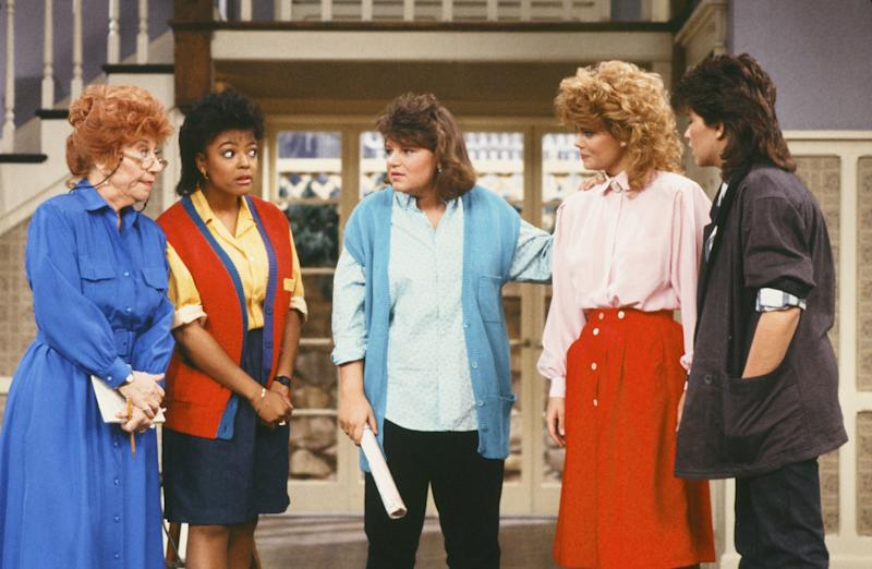 """Rae, left, starred as Mrs. Edna Garrett on """"The Facts of Life"""" for seven seasons. The show was a spinoff after her character became a breakout role on """"Diff'rent Strokes."""" (NBC via Getty Images)"""