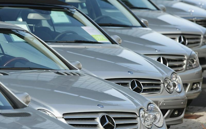 Mercedes cars on sale in Germany, where demand rose 4pc in the first quarter - Getty Images