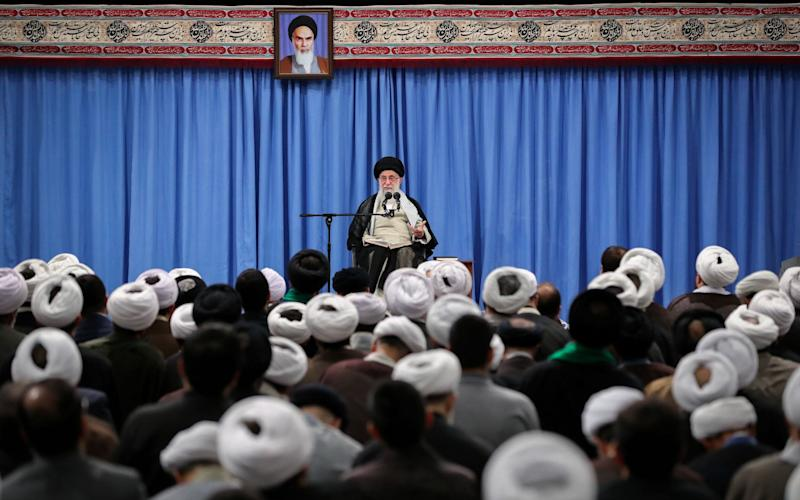 IranianSupreme Leader Ayatollah Ali Khamenei speaking during a ceremony in Tehran on Tuesday. US officials have blamed the Islamic republic for an attack on Saudi oil facilities on Saturday - REX