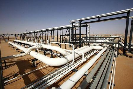 Pipes are pictured at Libya's El Sharara oilfield