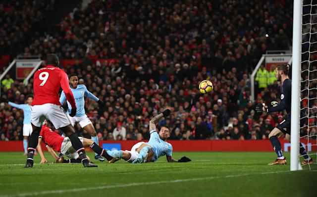 Nicolas Otamendi scores the winner for Manchester City against Manchester United at Old Trafford. (Getty)