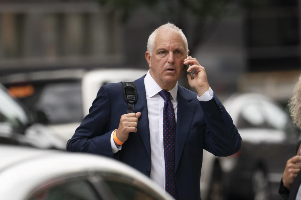 Alan Futerfas, an attorney with the Trump Organization's defense team, leaves court, Thursday, July 1, 2021 in New York. New York prosecutors announced the first criminal indictment in a two-year investigation into Trump's business practices, accusing his namesake company and Allen Weisselberg of tax crimes related to fringe benefits for employees. (AP Photo/Mark Lennihan)