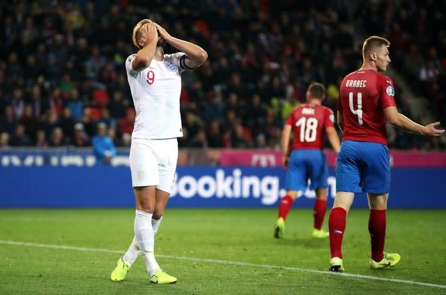 England suffered their first qualifying defeat in a decade against the Czech Republic (Nick Potts/PA)