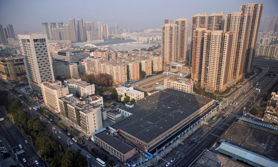 The Huanan Wholesale Seafood Market, where the first cluster of cases of Covid emerged, in Wuhan, China