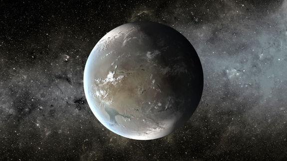The artist's concept depicts Kepler-62f, a super-Earth planet in the habitable zone of a star smaller and cooler than the sun, located about 1,200 light-years from Earth in the constellation Lyra. Image released April 18, 2013.