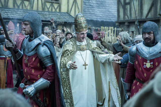 Jim Carter as Pope Boniface VIII in <em>Knightfall</em>. (Photo: Larry Horricks/History)