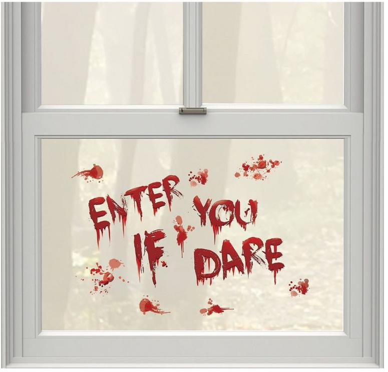 Enter If You Dare Bloody Cling Decals. Image via Party City