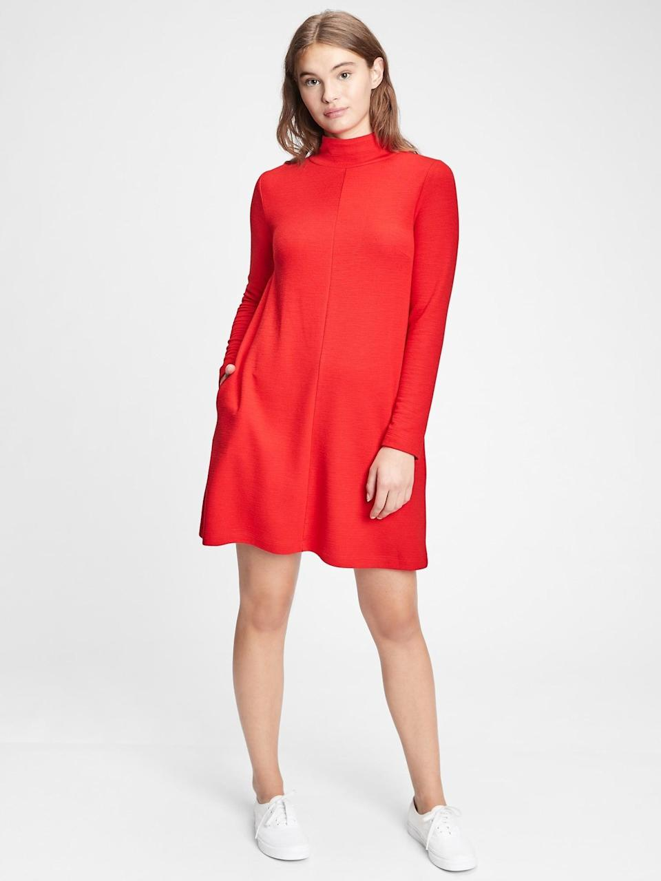 <p>Pair this <span>Gap Mockneck Swing Dress</span> ($45, originally $70) with opaque black tights and platforms for a mod Valentine's day look. Once in a while, I'll wear platforms in the house, and pretend I have plans to leave!</p>