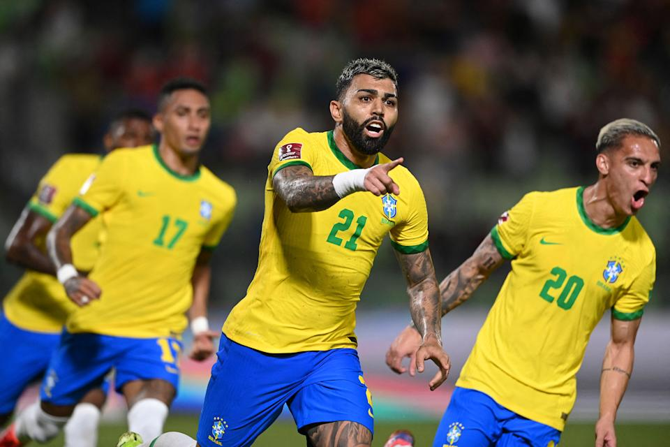Brazil's Gabriel Barbosa (C) celebrates after scoring against Venezuela during the South American qualification football match for the FIFA World Cup Qatar 2022 at the UCV Olympic Stadium in Caracas on October 7, 2021. (Photo by YURI CORTEZ / AFP) (Photo by YURI CORTEZ/AFP via Getty Images)