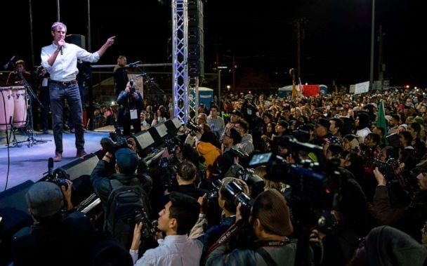 PHOTO: Former Texas Congressman Beto O'Rourke speaks to a crowd of supporters at Chalio Acosta Sports Center at the end of the anti-Trump 'March for Truth' in El Paso, Texas, Feb. 11, 2019. (Paul Ratje/AFP/Getty Images, FILE)