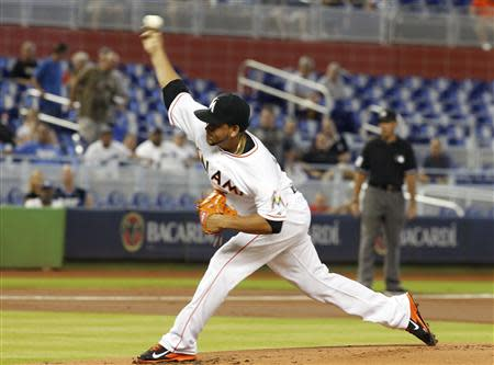 Marlins starting pitcher Alvarez throws against the Dodgers in the first inning during their MLB game in Miami