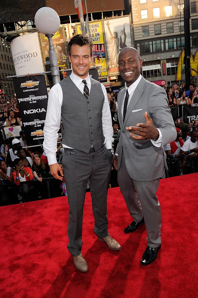 """<a href=""""http://movies.yahoo.com/movie/contributor/1804581818"""">Josh Duhamel</a> and <a href=""""http://movies.yahoo.com/movie/contributor/1804500453"""">Tyrese Gibson</a> at the New York City premiere of <a href=""""http://movies.yahoo.com/movie/1810159115/info"""">Transformers: Dark of the Moon</a> on June 28, 2011."""