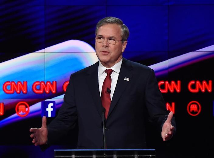Despite his command of the issues Republican presidential candidate Jeb Bush has appeared stiff and frustrated at Republican debates (AFP Photo/Robyn Beck)