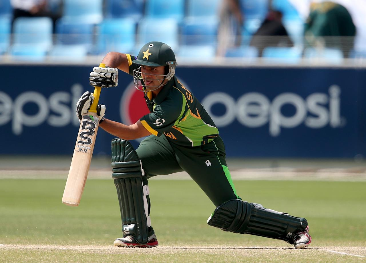 DUBAI, UNITED ARAB EMIRATES - MARCH 01:  Sami Aslam  of Pakistan bats during the ICC U19 Cricket World Cup 2014 Super League Final match between South Africa and Pakistan at the Dubai Sports City Cricket Stadium on March 1, 2014 in Dubai, United Arab Emirates.  (Photo by Francois Nel - IDI/IDI via Getty Images)