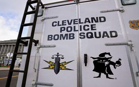 The Cleveland police bomb squad truck is parked across the street from city hall during a demonstration of police capabilities near the site of the Republican National Convention in Cleveland, Ohio July 14, 2016. REUTERS/Rick Wilking