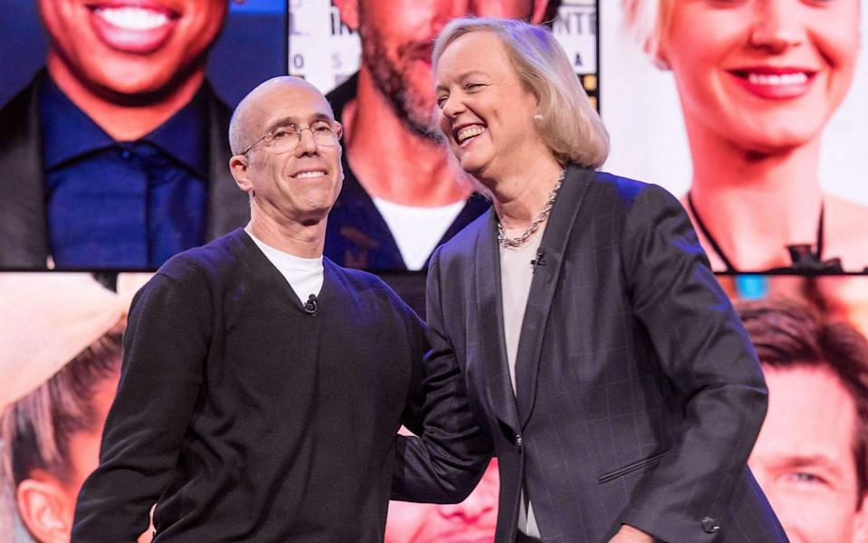Jeffrey Katzenberg, chairman and founder of Quibi SA, and Meg Whitman, chief executive officer of Quibi SA, stand together on the stage at the conclusion of a keynote at CES 2020 in Las Vegas, Nevada, U.S., on Wednesday, Jan. 8, 2020. Every year during the second week of January nearly 200,000 people gather in Las Vegas for the tech industry's most-maligned, yet well-attended event: the consumer electronics show. Photographer: - David Paul Morris/Bloomberg