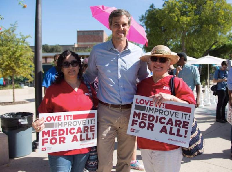 Rep. Beto O'Rourke shown withsupportersof single-payer health care.