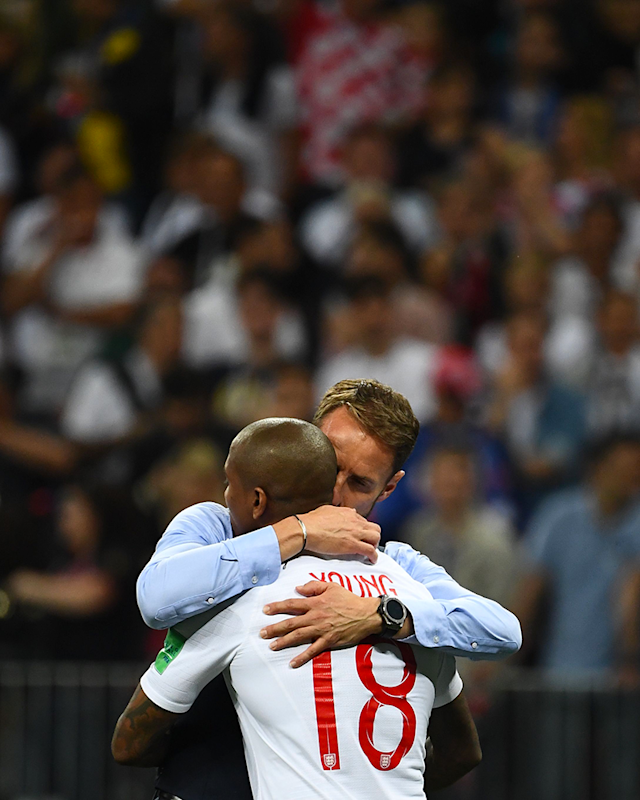 Gareth Southgate consoles Ashley Young after the final whistle (Getty)
