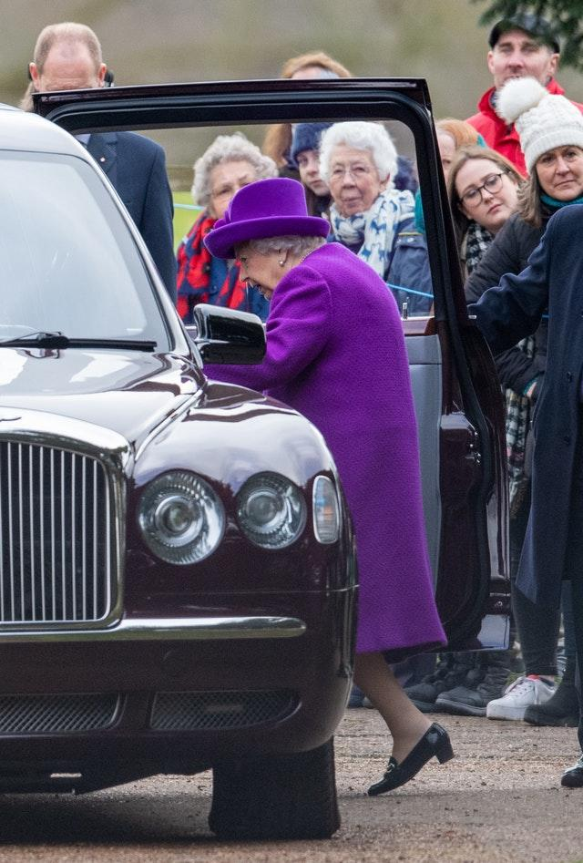 The Queen leaves the church service (Joe Giddens/PA)