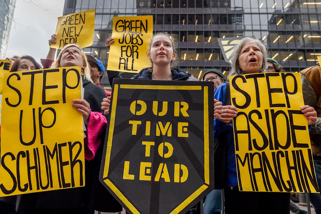 """<span class=""""s1"""">New York protesters urge Sen. Chuck Schumer to oppose Bernard McNamee for FERC commissioner (and Joe Manchin as ranking member of the Energy and Natural Resources Committee).<span class=""""Apple-converted-space"""">&nbsp;</span>(Photo: Erik McGregor/Pacific Press/LightRocket via Getty Images)</span>"""