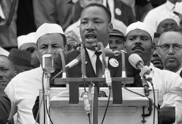 "<p>Dr. Martin Luther King Jr. addresses marchers during his ""I Have a Dream"" speech at the Lincoln Memorial in Washington on Aug. 28, 1963. (AP Photo) </p>"
