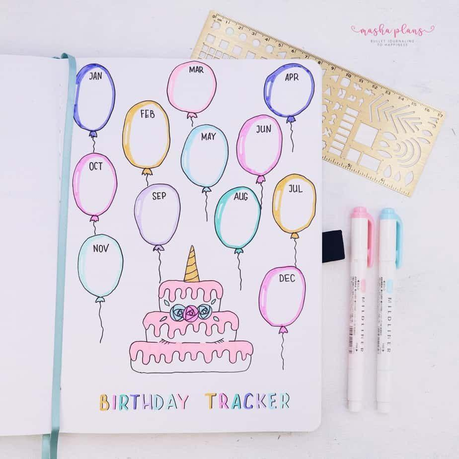 """<p>If you're the kind of person who always swings by the drugstore to buy a gift on the way to the party, you need this adorable birthday tracker idea by <a href=""""https://mashaplans.com/bullet-journal-page-ideas-ultimate-list/"""" rel=""""nofollow noopener"""" target=""""_blank"""" data-ylk=""""slk:Masha Plans"""" class=""""link rapid-noclick-resp"""">Masha Plans</a>. Adjust the size or number of balloons to fit more birthdays in any given month or to suit the number of months you need. Don't forget to add your own!</p>"""