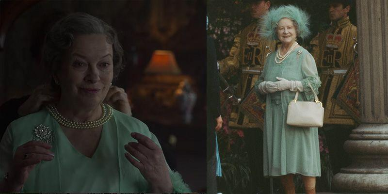 <p>Viewers only get a quick glimpse of the Queen Mother's look for the royal wedding in 1981, but the show expertly recreated her mint green chiffon dress, brooch and pearl necklace.</p>