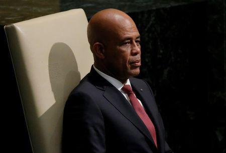 President Michel Joseph Martelly of Haiti waits to address attendees during the 70th session of the United Nations General Assembly at the U.N. Headquarters in New York