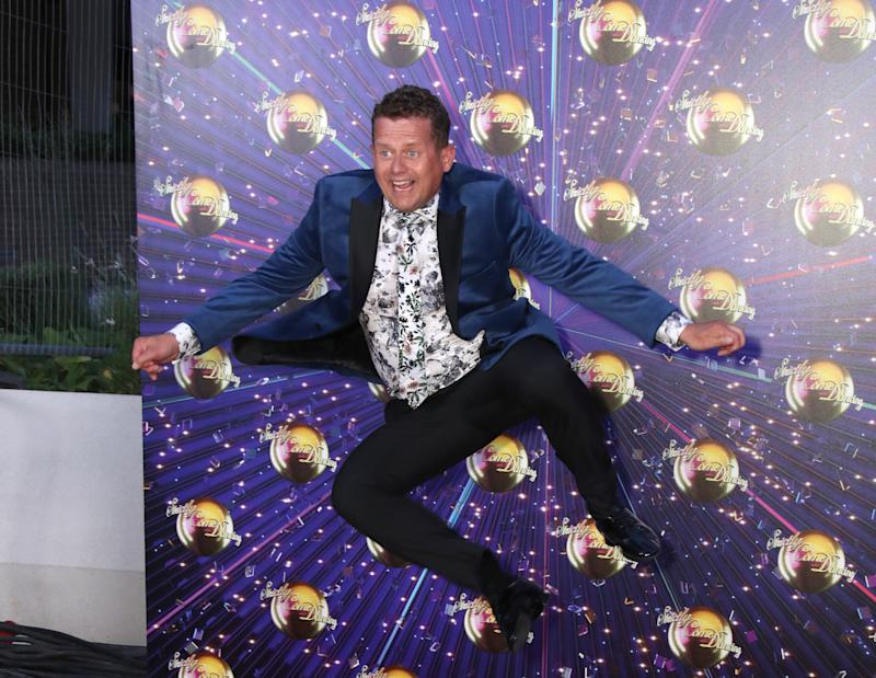 """LONDON, ENGLAND - AUGUST 26: Mike Bushell attends the """"Strictly Come Dancing"""" launch show red carpet at Television Centre on August 26, 2019 in London, England. (Photo by Mike Marsland/WireImage)"""
