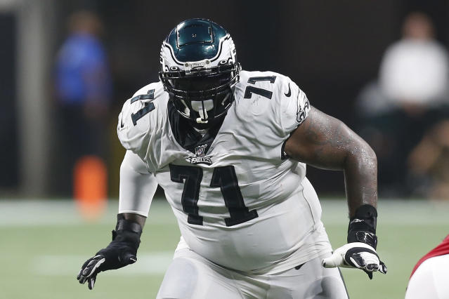 FILE - In this Sept. 15, 2019, file photo, Philadelphia Eagles offensive lineman Jason Peters (71) blocks against the Atlanta Falcons during an NFL football game in Atlanta. The big man wants to keep going. Peters turned 38 in January and NFL Network reported the left tackle has told friends he has his sights on playing into his 40s. (AP Photo/Michael Zarrilli, File)