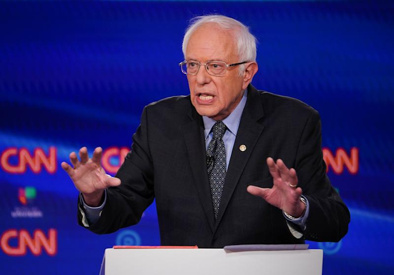 Sen. Bernie Sanders takes part in the 11th Democratic Party 2020 presidential debate in a CNN Washington Bureau studio in Washington, DC on March 15, 2020. (Mandel Ngan/AFP via Getty Images)