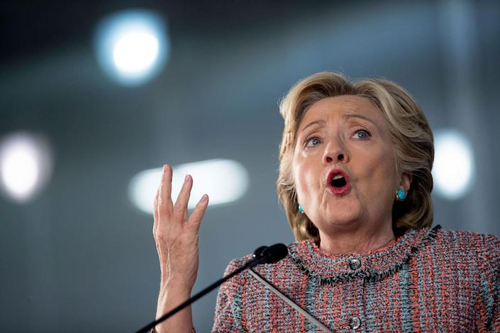 <p>Hillary Clinton speaks at a rally at Miami Dade College in Miami, Tuesday, Oct. 11, 2016. (AP Photo/Andrew Harnik) </p>