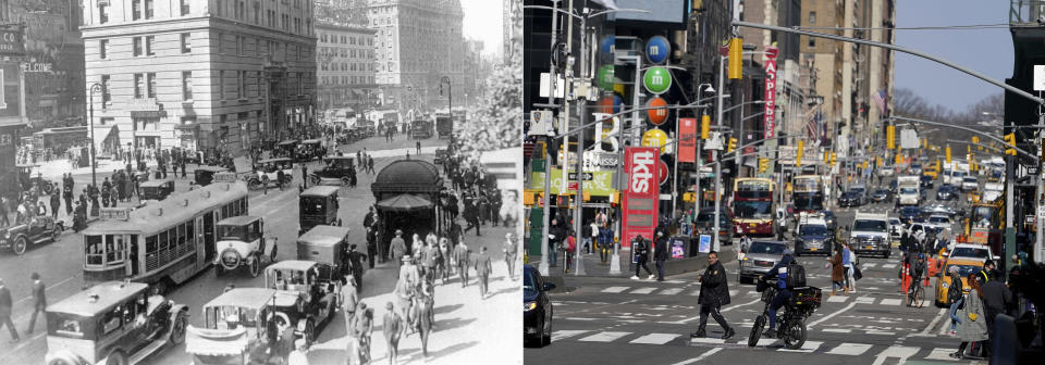 """This combination of photos shows a general view of Times Square near 42nd Street in New York in the 1920s, left, and a general view of Times Square in New York on March 10, 2021. As hopes rise that the pandemic is ebbing in the United States and Europe, visions of a second """"Roaring Twenties"""" to match last century's post-pandemic decade have proliferated.. (AP Photo, File)"""