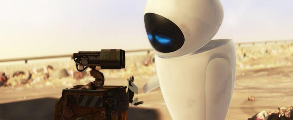 Eve shares a touching moment with Wall-E (Disney)