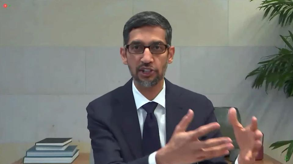 Google CEO Sundar Pichai testifies during a remote video hearing held by subcommittees of the US House of Representatives Committee on Energy and Commerce.