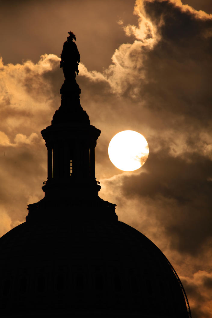 The dome of the U.S. Capitol with the Statue of Freedom at its top is seen at sunrise, in Washington, Thursday, Sept. 15, 2011. (AP Photo/J. Scott Applewhite)